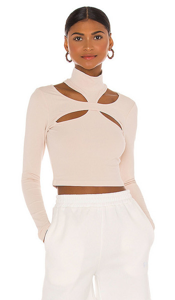h:ours Alyson Cut Out Top in Cream in beige