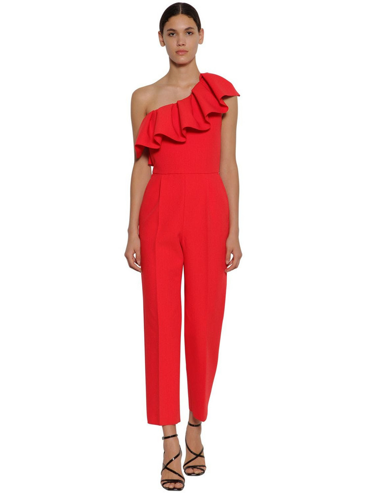 MSGM Ruffled Techno Crepe Jumpsuit in red