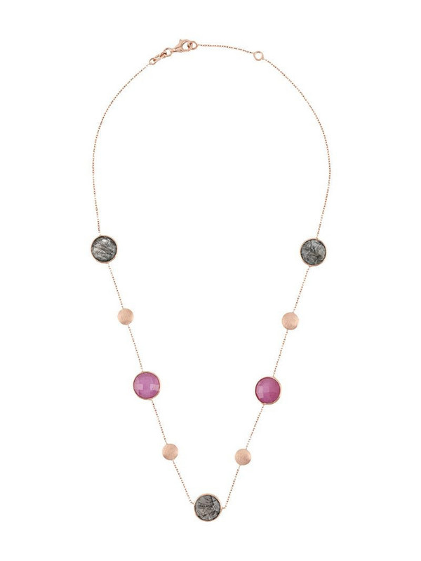 Tateossian 14kt rose gold round Kensington necklace in pink