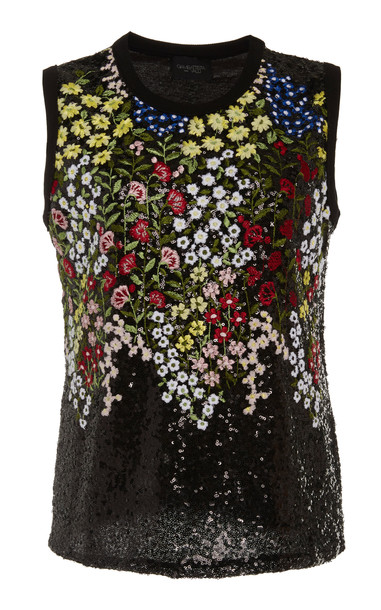 Giambattista Valli Sequin-Embellished Embroidered Cotton-Top Size: 38 in black