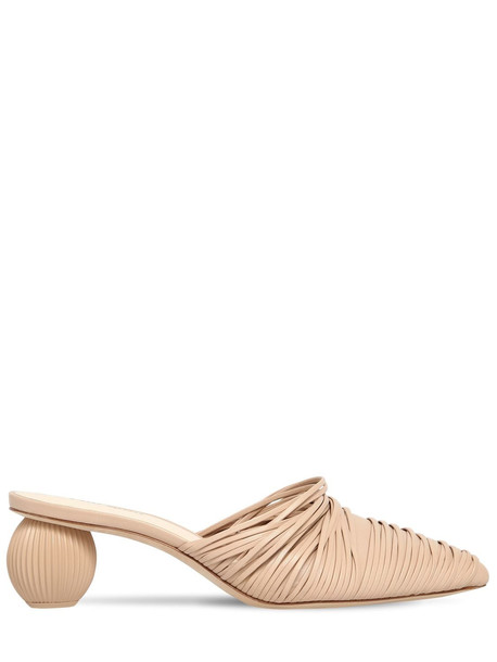 CULT GAIA 50mm Pia Leather Mules in sand