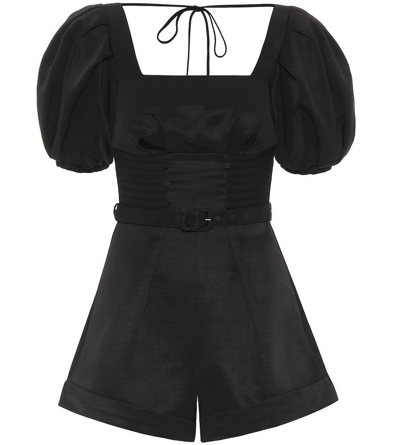 Self-Portrait Puff-sleeved ottoman playsuit in black