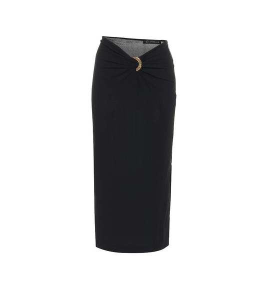 Versace Stretch-jersey pencil skirt in black