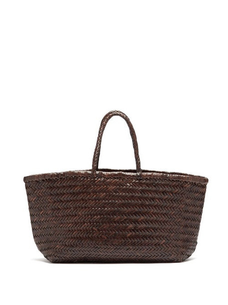 Dragon Diffusion - Triple Jump Large Woven-leather Basket Bag - Womens - Dark Brown