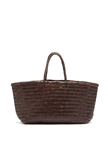 Dragon Diffusion - Triple Jump Large Woven-leather Basket Bag - Womens - Dark Brown