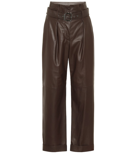 Brunello Cucinelli High-rise wide-leg leather pants in brown