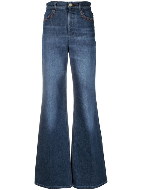 Chloé high waist flared jeans in blue
