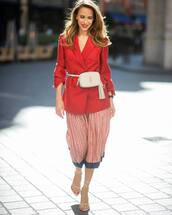 coat,red coat,double breasted,sandals,midi skirt,ysl bag,white bag