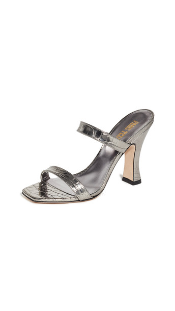 Paris Texas Metallic Croco 2 Strap Mule Slides in silver