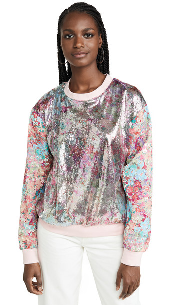 Prabal Gurung Metallic Floral Long Sleeve Top