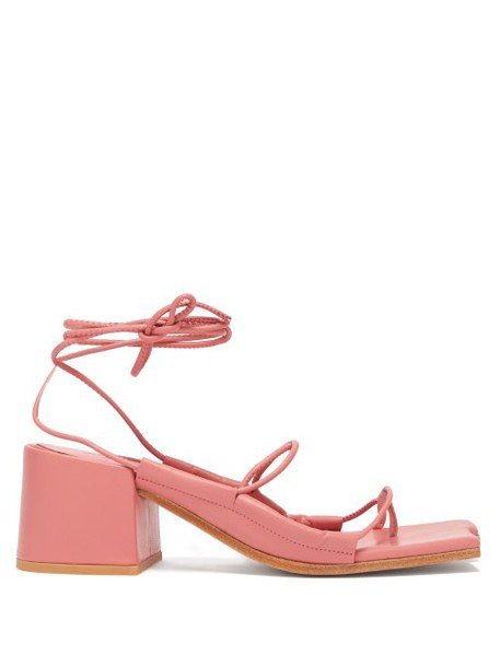 Marques'almeida - Asymmetric Toe Wrap Around Leather Sandals - Womens - Pink