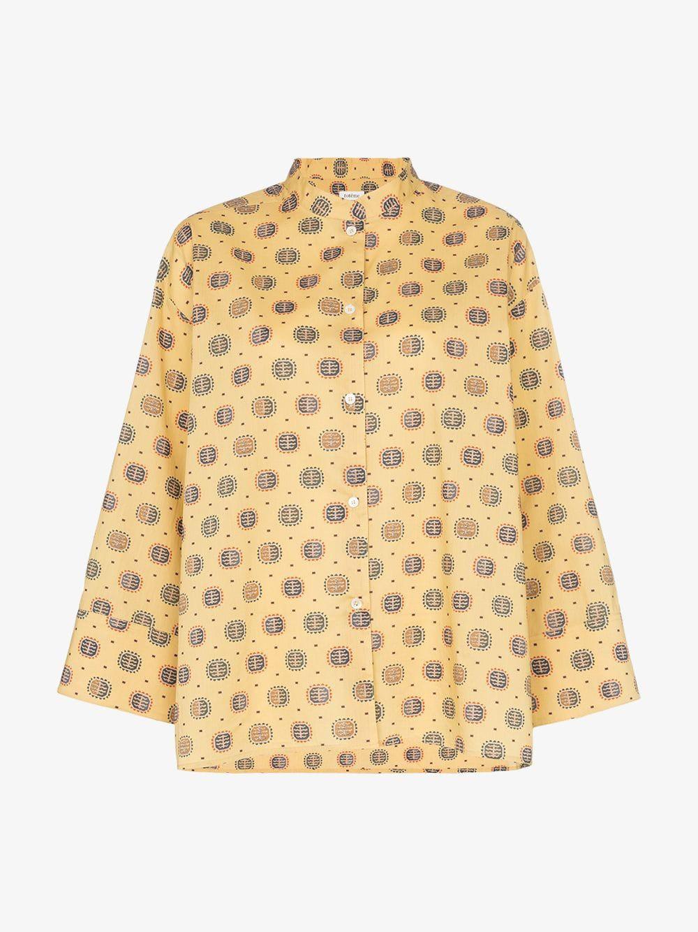 Toteme Zahora printed cotton long sleeve shirt in yellow / print