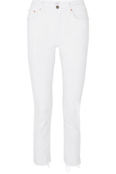 GRLFRND - Reed Cropped Mid-rise Slim-leg Jeans - White