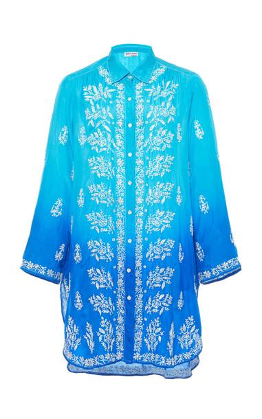 Juliet Dunn Ombre Embroidered Silk Shirt in blue