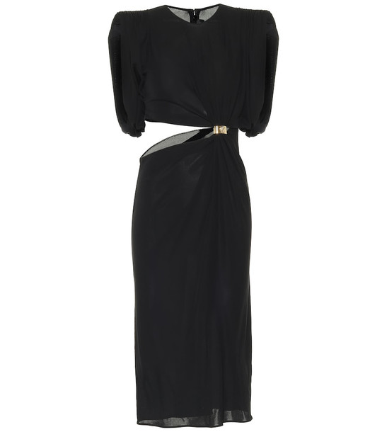 Versace Cut-out crêpe-jersey dress in black