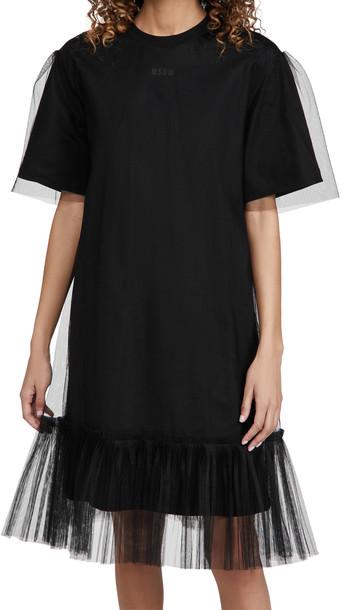 MSGM Tulle Hem Dress in black