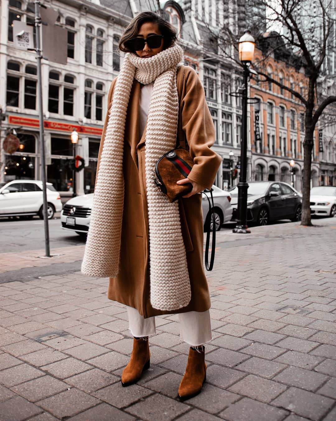 bag gucci bag brown bag leather bag oversized coat brown coat brown boots white jeans cropped jeans knitted scarf suede bag ankle boots straight jeans long coat top
