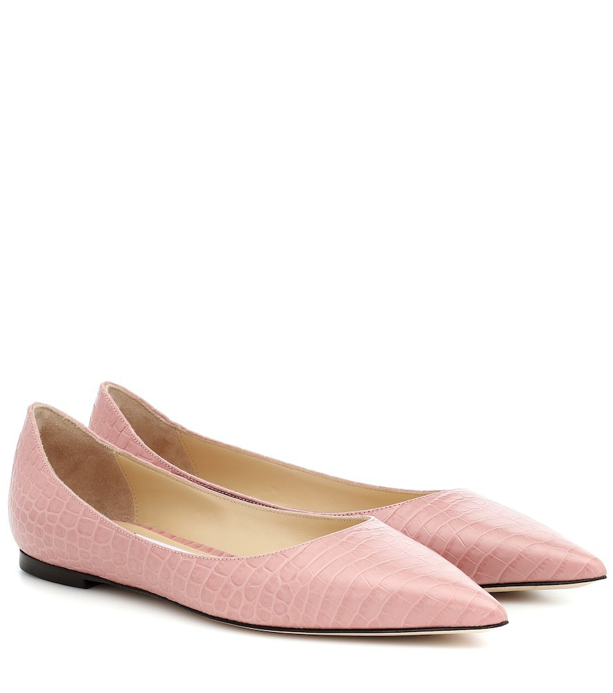 Jimmy Choo Love Flat leather ballet flats in pink