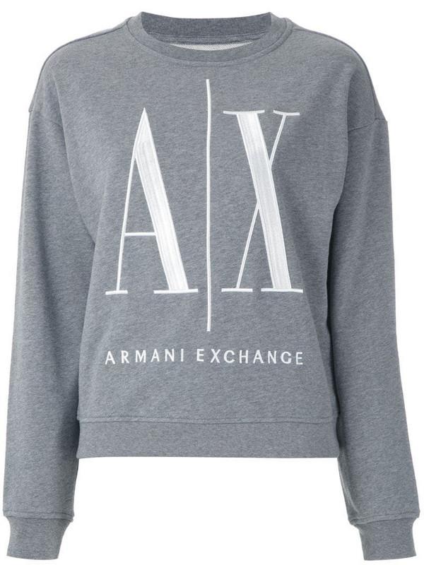Armani Exchange logo-embroidered crew-neck sweatshirt in grey