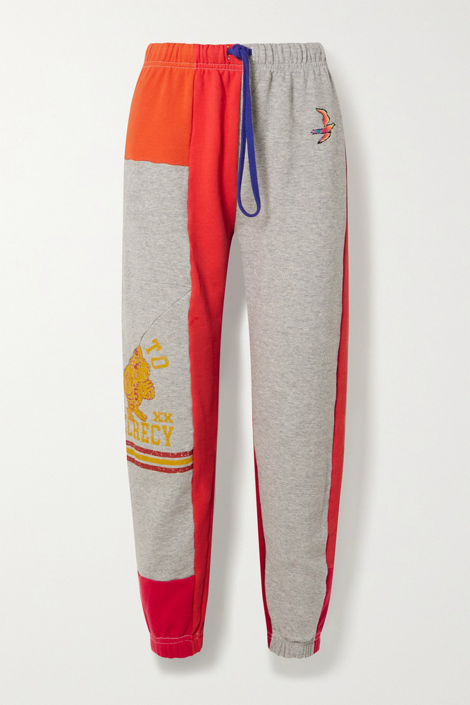 Mother - + Net Sustain + Carolyn Murphy Embroidered Patchwork Cotton-jersey Track Pants - medium in red