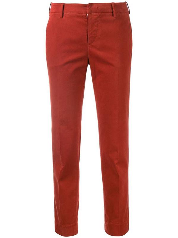 Pt01 cropped slim trousers in orange
