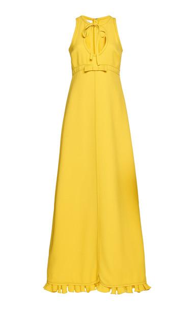 Giambattista Valli Bow-Detailed Crepe Maxi Dress Size: 40 in yellow