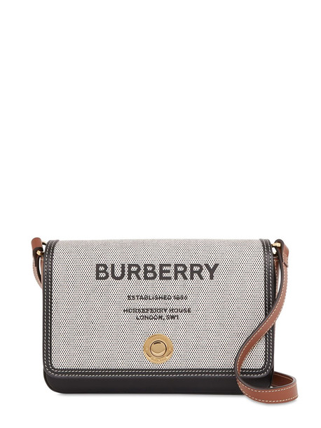 BURBERRY Hampshire Canvas & Leather Shoulder Bag in black / tan