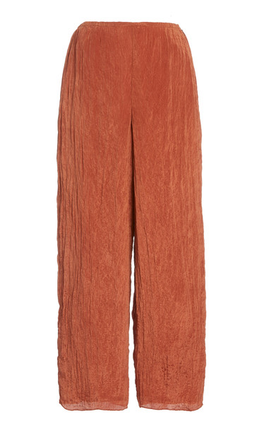 Vince Textured Satin Wide-Leg Pants in red