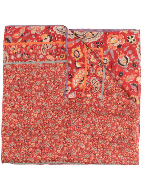 Etro paisley-print linen-blend scarf in red