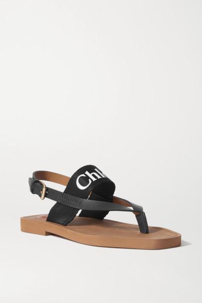 Chloé Chloé - Logo-print Canvas And Leather Sandals - Black