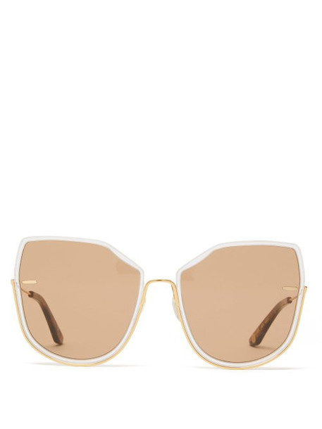 Moy Atelier - Nobody's Darling Oversized Gold Plated Sunglasses - Womens - Gold