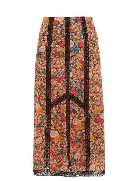 Etro - Lace Insert Floral Print Crepe Skirt - Womens - Pink Multi