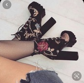 shoes,simmi london,floral,platform boots,embroidered
