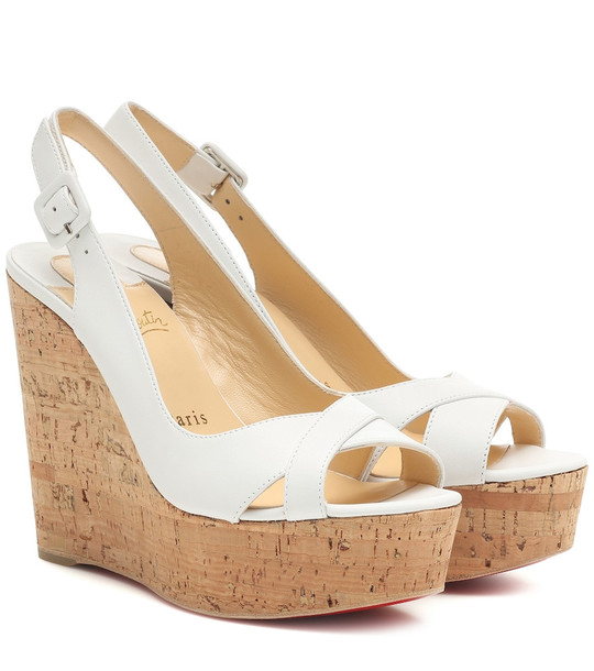 Christian Louboutin Reine De Liege 120 leather wedges in white