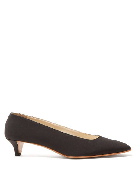 The Row - Lady Di Crepe Kitten Heel Pumps - Womens - Black