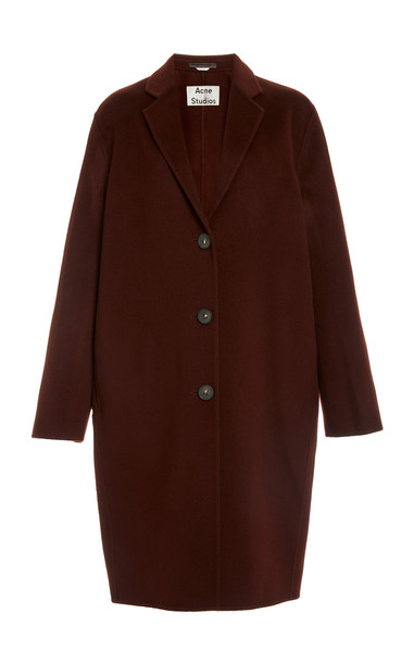 Acne Studios Avalon Double Oversized Wool Coat in red