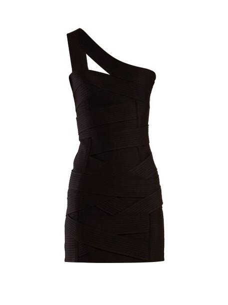 Balmain - Asymmetric Bandage Mini Dress - Womens - Black
