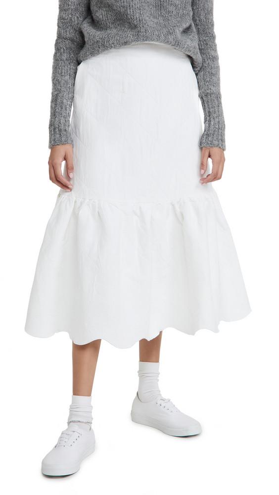 Sister Jane Cloud Jacquard Midi Skirt in ivory