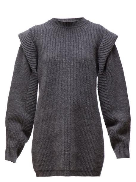 Isabel Marant - Beatsy Balloon Sleeve Ribbed Knit Sweater Dress - Womens - Dark Grey