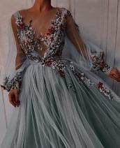 dress,blue,gown,prom dress,flowers