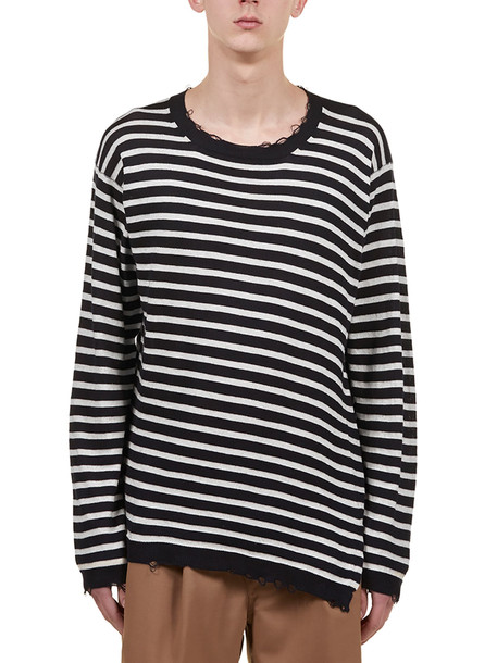 Maison Flaneur Striped Sweater in blue / ivory