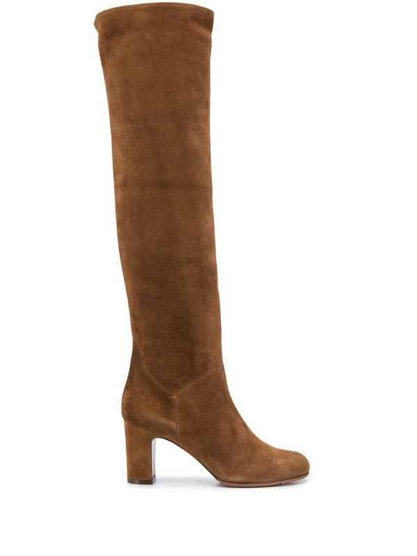 L'Autre Chose knee-length block heel boots in brown