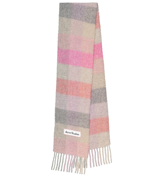 Acne Studios Checked alpaca hair and wool-blend scarf in pink