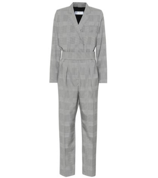 Max Mara Corone checked wool jumpsuit in grey