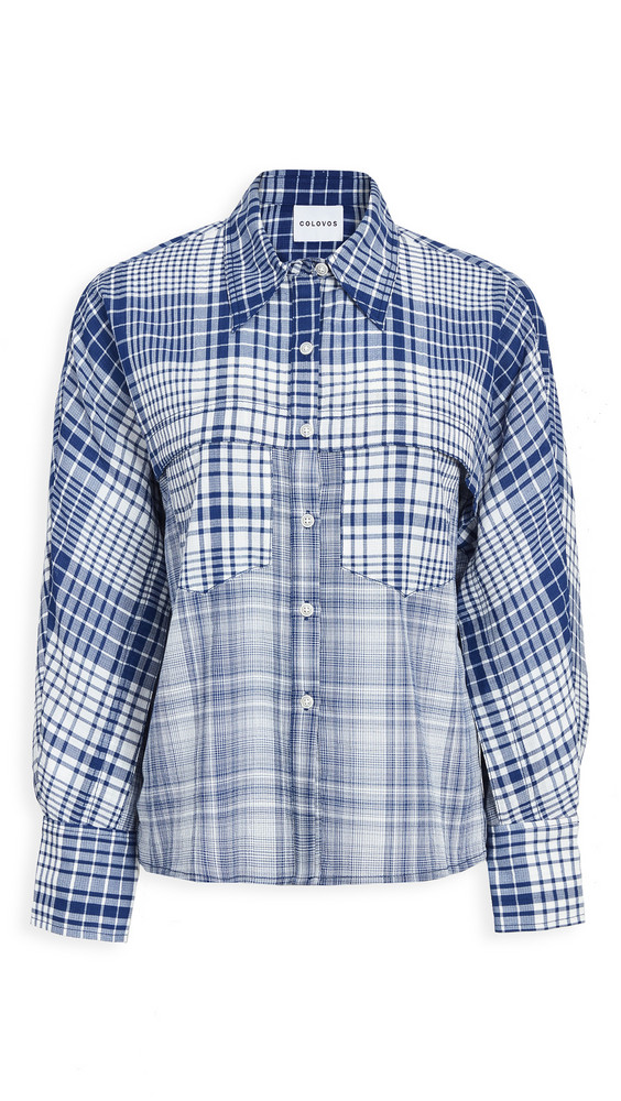 Colovos Check Front Yoke Pocket Blouse in blue / white