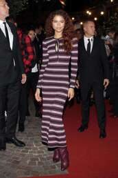 dress,zendaya,celebrity,maxi dress,knitwear,knitted dress,stripes,fall outfits,fall dress
