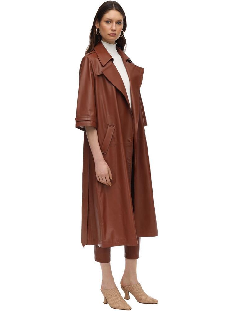 ZEYNEP ARCAY Oversize Leather Trench Coat in brick