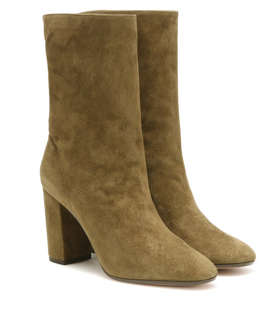 Aquazzura Boogie 85 suede ankle boots in green