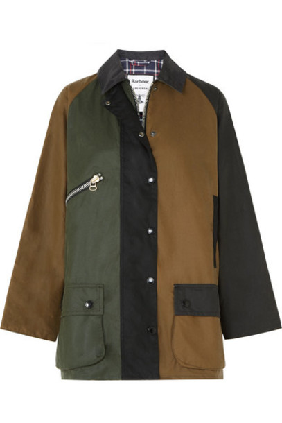 Barbour - Alexachung Corduroy-trimmed Color-block Waxed-cotton Jacket - Green