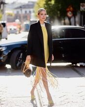 dress,yellow dress,sandals,black blazer,bag